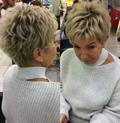 25 Chic Textured Pixie Haircut Styles That Are Huge in 2019 Pixie Haircut For Thick Hair, Short Choppy Hair, Short Grey Hair, Short Hair With Layers, Short Hair Cuts For Women, Layered Hair, Short Stacked Hair, Pixie Haircuts, Short Haircut