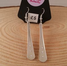 Upcycled Silver Plated Star Stamped Handle Earrings £5.00