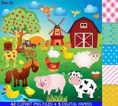 50% OFF SALE Farm animalsFarm animal ClipartFarm by JaneJoArt