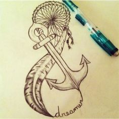 Anchor And Feather Dreamcatcher Tattoo Design