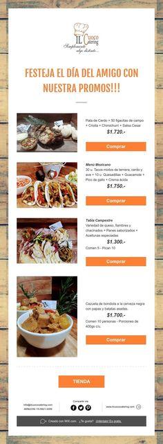 FESTEJA EL DÍA DEL AMIGO CON NUESTRA PROMOS!!! Chimichurri Salsa, Catering, Olives, Friends Day, Catering Business, Gastronomia