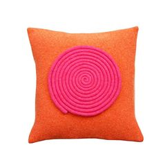 Orange and Pink Spiral Cushion - Pure Merino Wool Hand Felted Contemporary Pillow Minimalist Home Decorative Throw Pillow