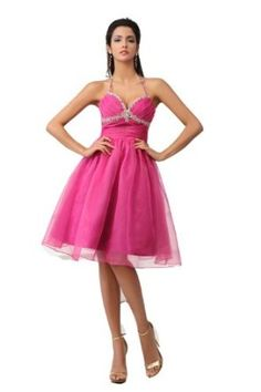 Winey Bridal Peach Halter Crystals Homecoming Short Knee-length Hot Pink Bling Shiny New Cocktail Prom Dressses:$119.99 + $16.00 shipping