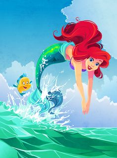 Ariel Illustration by Kuitsuku.deviantart.com on @DeviantArt - A super cute illustration of the Little Mermaid and Flounder! I love the art style of this!