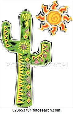 Cactus Clip Art Free   Clipart - cactus and sun. fotosearch - search clipart, illustration ...