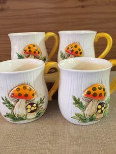 A personal favorite from my Etsy shop https://www.etsy.com/listing/259389772/merry-mushrooms-mugs-set-of-4-sears
