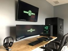 Theyre never final but feeling good about my new setup. - Home Technology Ideas Setup Desk, Computer Desk Setup, Gaming Room Setup, Home Office Setup, Pc Setup, Home Office Design, Gaming Rooms, Office Style, Simple Computer Desk