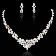 Art Deco Flower Leaf Pearl Necklace Earrings Set Rhinestone Crystal Bridal Party   eBay