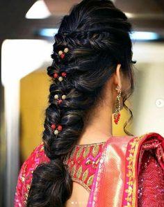 A Flowy Messy Fishtail Braid Hairstyles Ideas 2019 - fishtail Braids A Flowy Messy Fishtail Braid Hairstyles Ideas 2019 - TechUve Photos # indian Hairstyles Box Braids Hairstyles, Quick Braided Hairstyles, Saree Hairstyles, Fishtail Braid Hairstyles, Braided Hairstyles For Wedding, Bride Hairstyles, Updo Hairstyle, Unique Hairstyles, Braided Updo