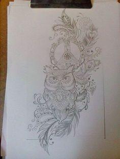 """Compass instead of peace sign My tattoo design, gedink jy sal dit like, sien j het baie van dieselfde images onder jou """"tattoos album"""". al wat verander is die half maan opi die uil se bors, dit is nou n yin yang sign. Neue Tattoos, Body Art Tattoos, Mandala Tattoo, Arm Tattoo, Half Sleeve Tattoo Mandala, Blade Tattoo, Owl Tattoo Design, Tattoo Designs, Trendy Tattoos"""