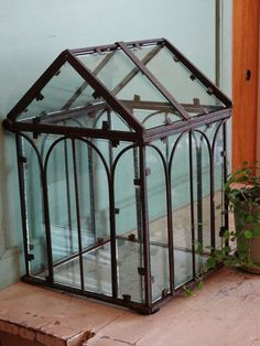 Vintage Mini Conservatory . Greenhouse . Terrarium . Wardian Case . Hinged Top . Glass and Metal $85