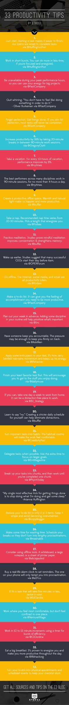 33 Productivity Tips in 140 Characters or Less  #studytips #motivation
