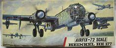 Airfix German Heavy Bomber Heinkel He 177 in Scale Model Kit. Vintage Models, Vintage Box, Plastic Model Kits, Plastic Models, Airfix Models, Airfix Kits, Aviation Art, Model Airplanes, Military Art