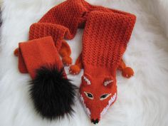 Faux Fox Scarf Foxy Fox Reddish Brown Point Snout by nijoleelze, $65.00
