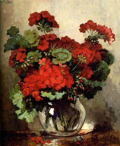 Jeannette Slager (1881-1945).  Red geraniums.  Oil on canvas, 61 x 54 cm.  'S-Hertogenbosch, Museum Slager.