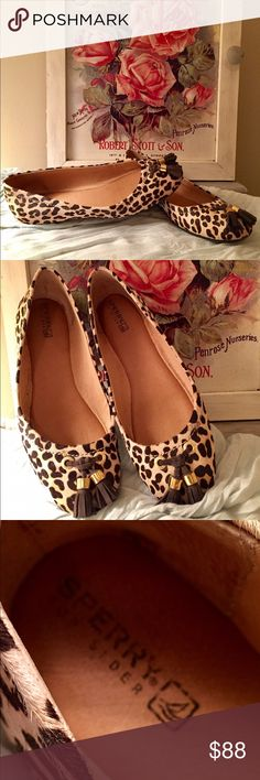 Sperry Leopard Flats. Brand New! Funky Fun w/ these Sperry Leopard Flats. They look great on. The tassels are a nice added touch to this great shoe. Worn once. Sperry Shoes Flats & Loafers