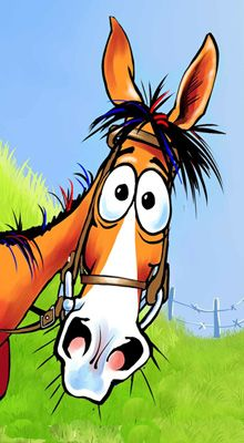 Fergus the Horse - Ricky & kelly Lance painting cartoon Cartoon Kunst, Cartoon Drawings, Cartoon Art, Cute Drawings, Horse Cartoon Drawing, Horse Drawings, Animal Drawings, Photo Rock, Horse Art