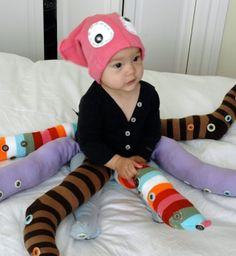 déguisement bébé Halloween fait maison pieuvre multicolore