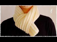 メンズかぎ編みマフラーの簡単な編み方・作り方(1) diy easy crochet scarf tutorial - YouTube