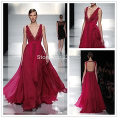 Graceful Deep V-Neck Sleeveless Beaded A-Line Long Chiffon Elie Saab Evening Dresses 2014 Backless Red Carpet  Party Gowns $159.00