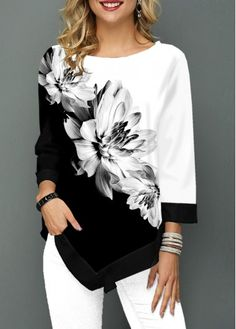 Mothers Day Gifts Ideas Womens Casual Tops Asymmetric Hem Three Quarter Sleeve Flower Print T Shirt Look Fashion, Womens Fashion, Female Fashion, Vetement Fashion, Trendy Tops For Women, Knitwear, Casual Outfits, Sleeves, How To Wear