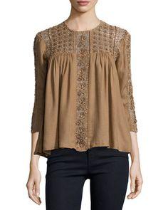 Debo Lilas Embroidered Eyelet Top, Dusty Brick