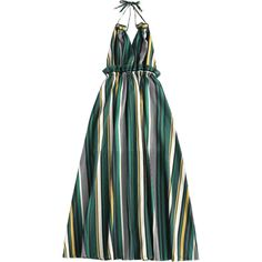 Striped Ruffles Backless Halter Maxi Dress (1.715 RUB) ❤ liked on Polyvore featuring dresses, halter-neck maxi dresses, backless maxi dress, stripe maxi dress, backless halter top and ruffle maxi dress