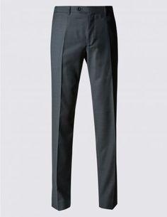 Auf Figur geschnittene Flatfronthose aus reiner Wolle mit Buttonsafe™