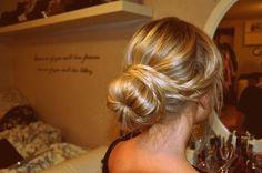 bun with braid wrap