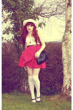 sock styles & socks inspirations  girl with red skirt and white hat