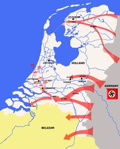 German Invasion of Holland in May 1940. Rotterdam was bombarded, but Amsterdam was not.