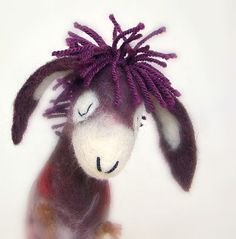 Francesca - Felt Donkey with long floppy ears, Art Marionette. Puppet. Felted Toy. SPECIAL ORDER for CraftyGilly.