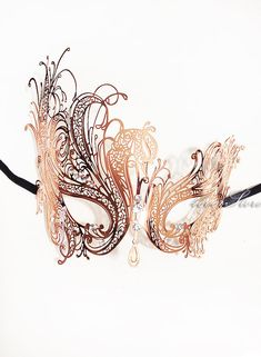 Limited Edition Rose Gold Face Jewelry by 4everstore - Laser Cut Venetian Masquerade Mask w/ Sparkling Rhinestones - Rose Gold Collection on Etsy, $42.95
