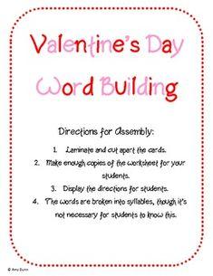 Free Valentine's Day Word Building Center