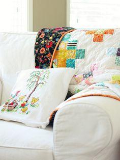 Granny Squares scrappy quilt by Jolene Klassen
