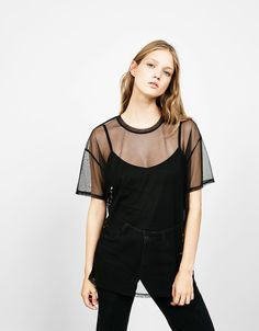 Oversized tulle T-shirt - Woman - Bershka Armenia