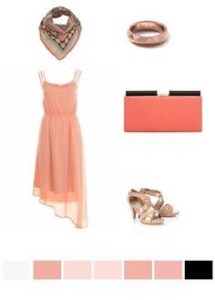 peach, orange, beige