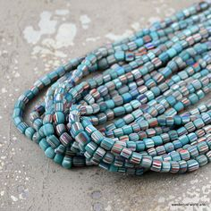 Small Light Blue Glass Beads, Striped, Indonesian Glass Tube Bead, Turquoise, 4mmx2-6mm Size Varies, Indonesian Lampwork Glass, One String