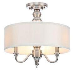 $99.97  15x14.5  Hampton Bay Gala 3-Light Polished Nickel Semi-Flush Mount Light-14698 - The Home Depot