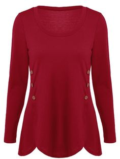 Double-Breasted Design Asymmetrical T-Shirt in Red | Sammydress.com