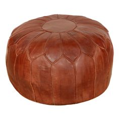Moroccan Large Leather Pouf - piecework