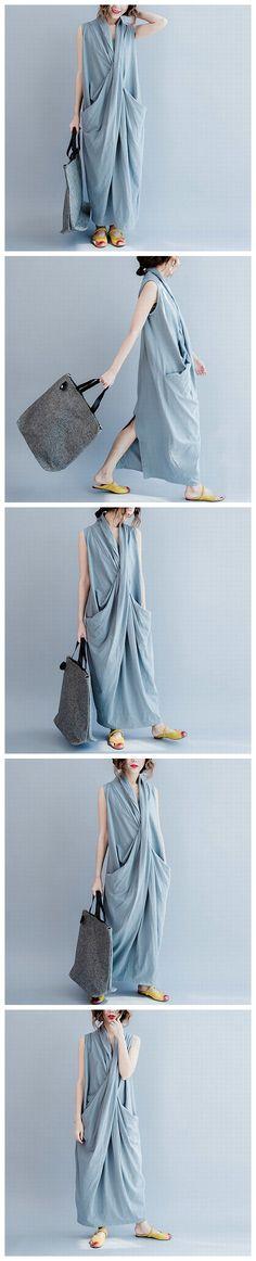 GRAY SLEEVELESS CROSS SUMMER LONG DRESSES CAUSAL DRESSES PLUS SIZE OVERSIZE WOMEN CLOTHES
