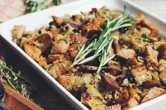 traditional bread and sausage stuffing-recipes-hot for food