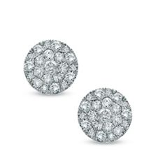1/2 CT. T.W. Diamond Carnation Cluster Stud Earrings in 10K White Gold