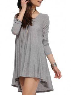 Grey Long Sleeve Round Neck Dress 11.00