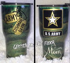 Diy Tumblers, Custom Tumblers, Glitter Tumblers, Military Mom, Army Mom, Mom Tumbler, Tumbler Cups, Army Crafts, Personalized Travel Mugs