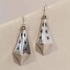 Vintage Mexico Sterling Silver 925 Flower Stamp Triangle Dangle Pierced Earrings | eBay