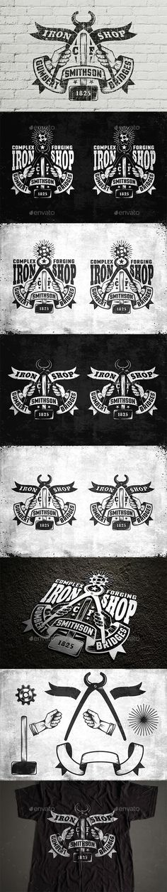 Blacksmith's Workshop Logo by Agor2012 2 original retro blacksmiths workshop logo template and blacksmith tools. Perfect for use on various surfaces.Both logos included