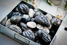 Beach Wedding Stone Guest Book Idea