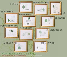 Turn-of-the-Centuries: The NORTH ATLANTIC STATES: USA Map-Drawings